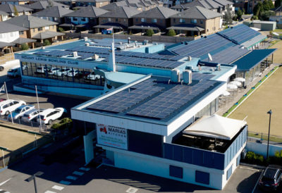 commercial solar panels installed on Mount Lewis Bowling Club